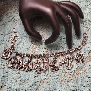 Coro vintage ten commandments charm bracelet